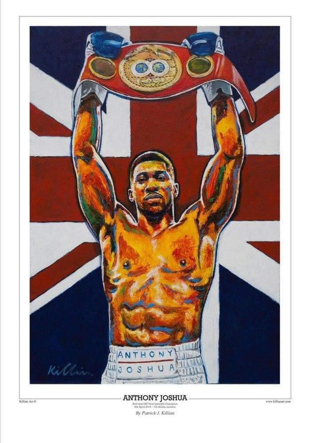 "Anthony Joshua ""Title Belt"" produced live in Leeds at O2 Arena Painting Print Poster original painting By Patrick J. Killian Image 1"