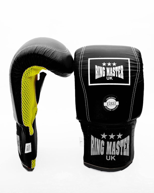 Black Genuine Leather RingMaster Sports Bag Mitts Image 1