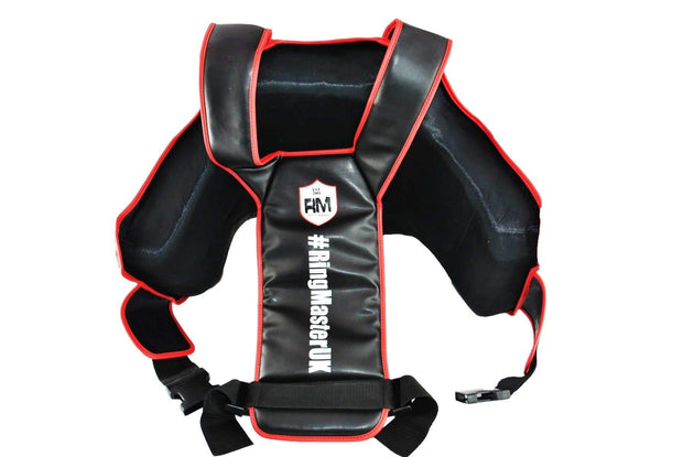 RingMaster Sports One Size Body Protectors Genuine Leather Black and Red Image 2