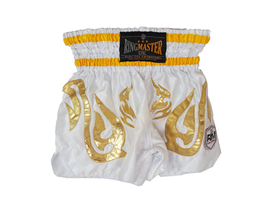 RingMaster Sports Thai Kickboxing Shorts White Image 3