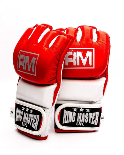 RingMaster Sports MMA Gloves Genuine Leather Red and White Image 1