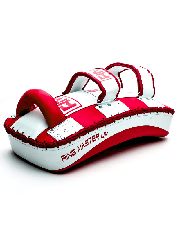 One Size Red and White Genuine Leather RingMaster Sports Arm Pads image 2
