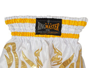 RingMaster Sports Thai Kickboxing Shorts White Image 4