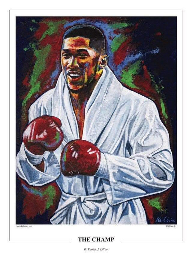 "Anthony Joshua ""The Champ"" produced live in Cardiff Painting Print Poster original painting By Patrick J. Killian Image 1"