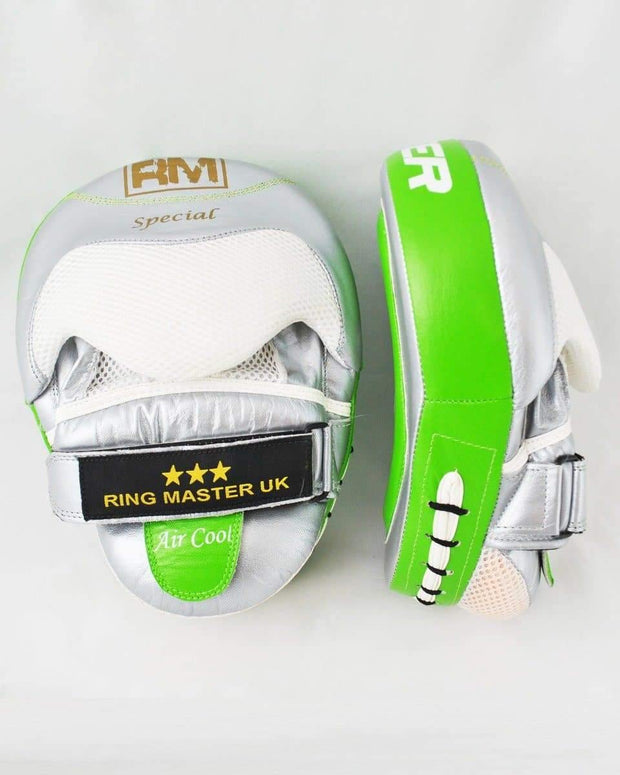 RingMaster Sports Focus pads Genuine Leather One Size Green and Silver image2