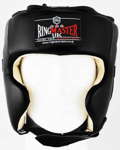 RingMaster Sports Boxing HeadGuard Genuine Leather Black and White Image 1