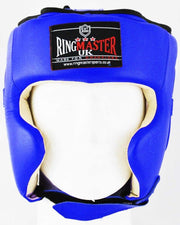 RingMaster Sports Boxing HeadGuard Genuine Leather Blue and White Image 3