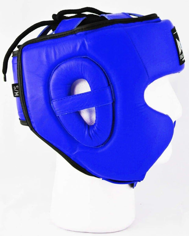 RingMaster Sports Boxing HeadGuard Genuine Leather Blue Image 2
