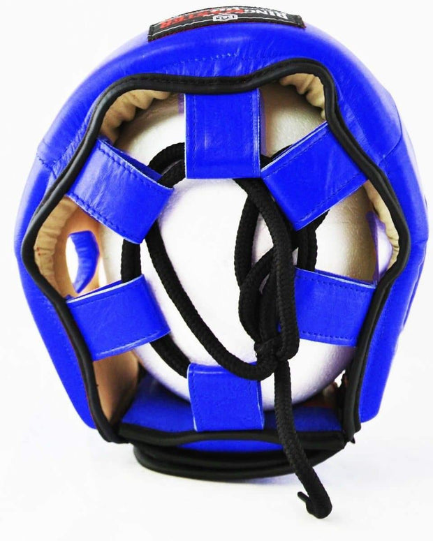 RingMaster Sports Boxing HeadGuard Genuine Leather Blue Image 4