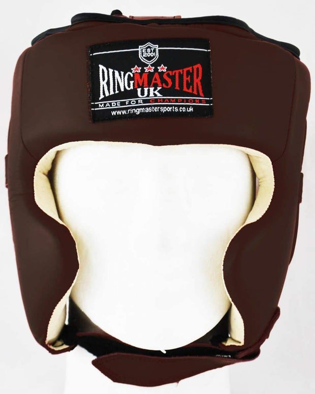 RingMaster Sports Boxing HeadGuard Genuine Leather Brown image 1