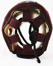 RingMaster Sports Boxing HeadGuard Genuine Leather Brown Image 4