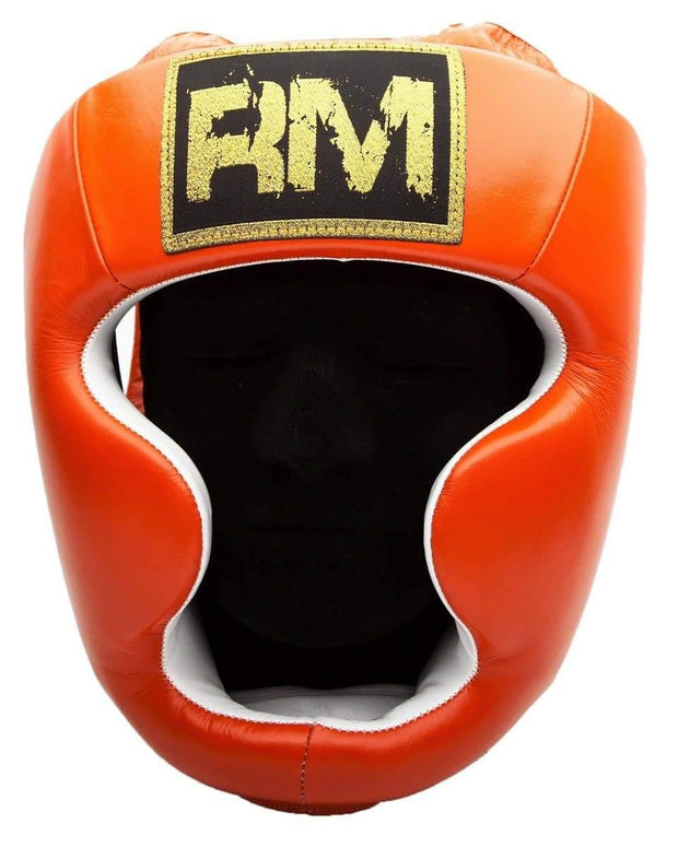 RingMaster Sports Boxing HeadGuard Genuine Leather Orange image 1