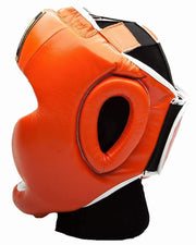 RingMaster Sports Boxing HeadGuard Genuine Leather Orange Image 2