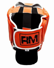 RingMaster Sports Boxing HeadGuard Genuine Leather Orange Image 3