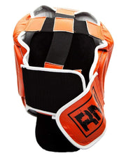 RingMaster Sports Boxing HeadGuard Genuine Leather Orange Image 4