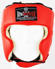 RingMaster Sports Boxing HeadGuard Genuine Leather Red and White Image 2