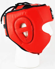 RingMaster Sports Boxing HeadGuard Genuine Leather Red Image 2
