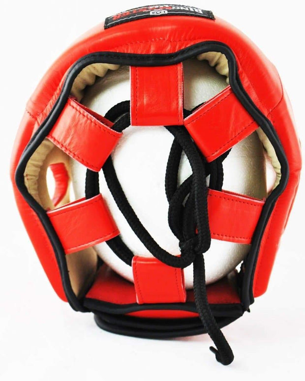 RingMaster Sports Boxing HeadGuard Genuine Leather Red Image 4