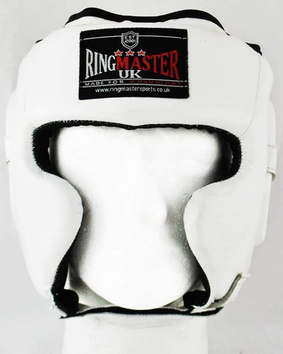 RingMaster Sports Boxing HeadGuard Genuine Leather White image 1