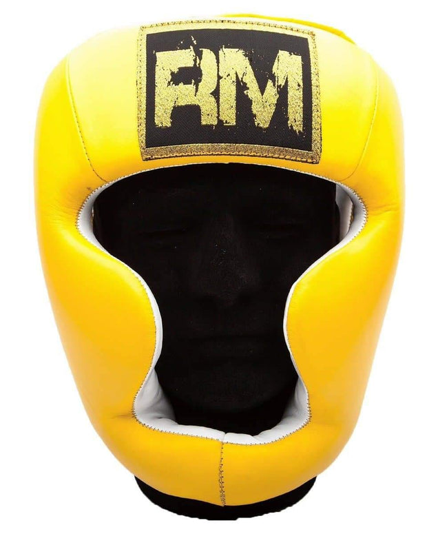 RingMaster Sports Boxing HeadGuard Genuine Leather Yellow and Black image1
