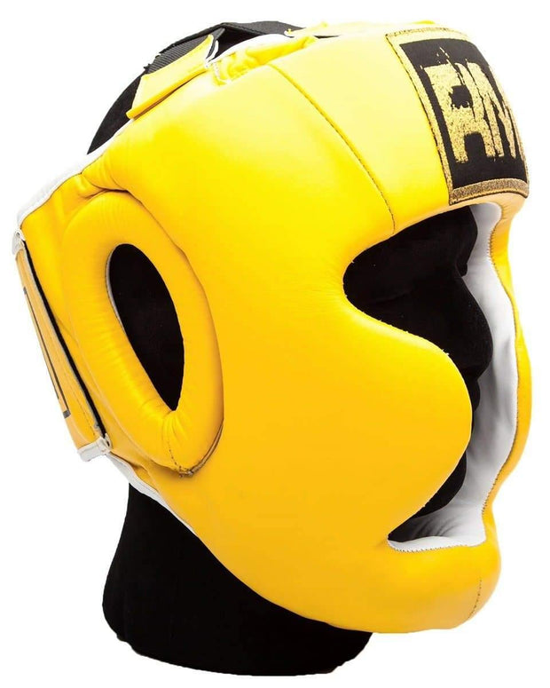 RingMaster Sports Boxing HeadGuard Genuine Leather Yellow and black Image 2
