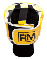RingMaster Sports Boxing HeadGuard Genuine Leather Yellow and blackImage 3