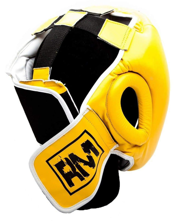 RingMaster Sports Boxing HeadGuard Genuine Leather Yellow and blackImage 4
