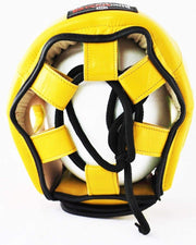 RingMaster Sports Boxing HeadGuard Genuine Leather Yellow Image 4