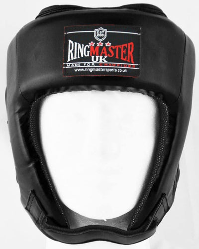 RingMaster Sports Open Face Boxing HeadGuard Synthetic Leather Black image 1