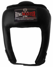 Kids Extra Small Black Synthetic Leather RingMaster Sports Open Face Head Guard Image 1
