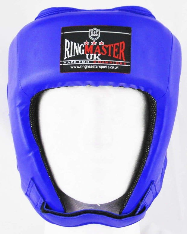 RingMaster Sports Open Face Boxing HeadGuard Synthetic Leather Blue image1
