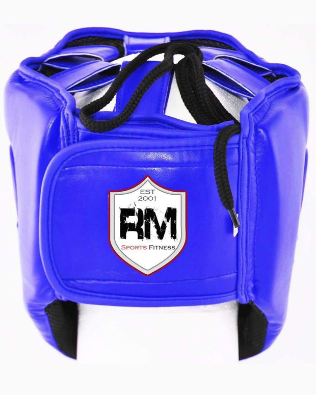 RingMaster Sports Open Face Boxing HeadGuard Synthetic Leather Blue Image 3
