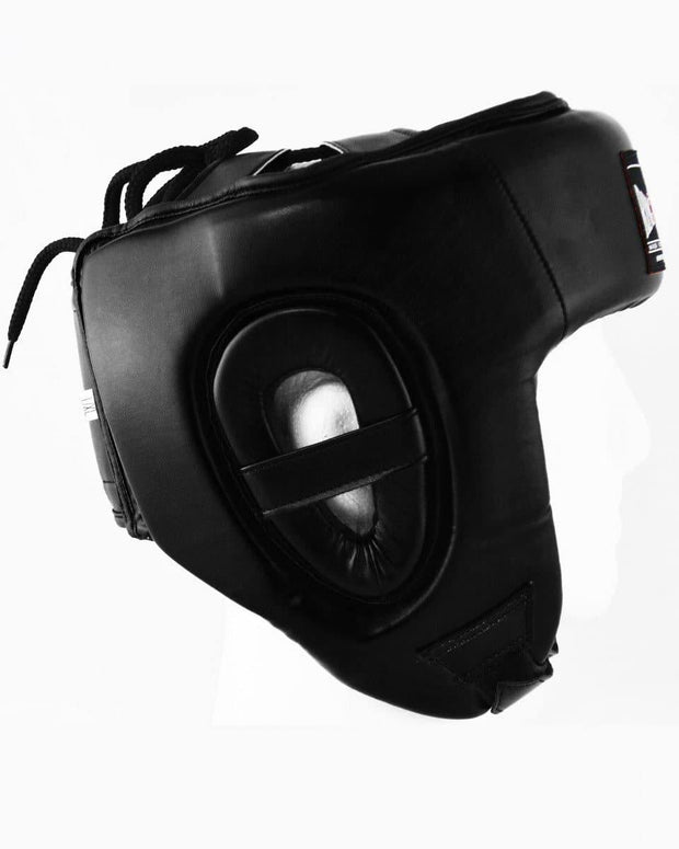 RingMaster Sports Open Face Boxing HeadGuard Synthetic Leather Black Image 2
