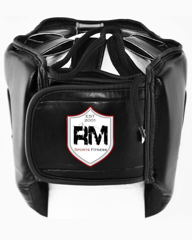 RingMaster Sports Open Face Boxing HeadGuard Synthetic Leather Black Image 3