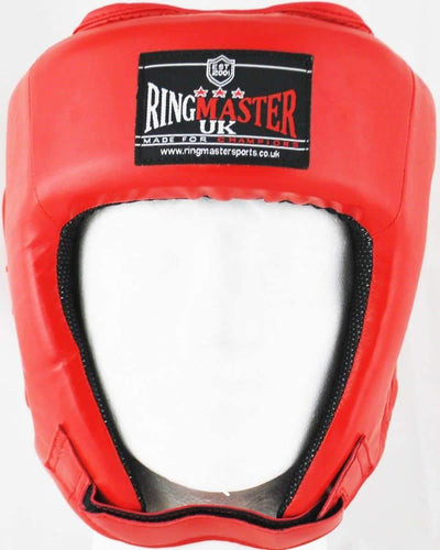 RingMaster Sports Open Face Boxing HeadGuard Synthetic Leather Red