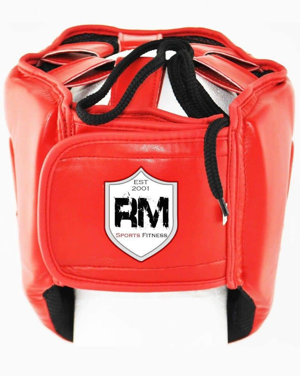 RingMaster Sports Open Face Boxing HeadGuard Synthetic Leather Red Image 3