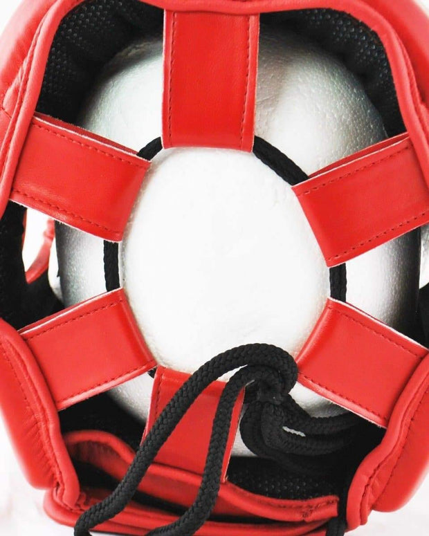 RingMaster Sports Open Face Boxing HeadGuard Synthetic Leather Red Image 4