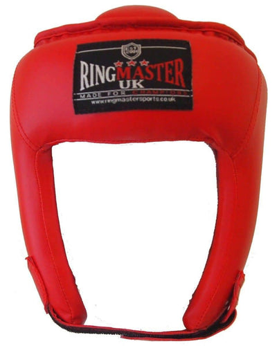Kids Extra Small Red Synthetic Leather RingMaster Sports Open Face Head Guard Image 5