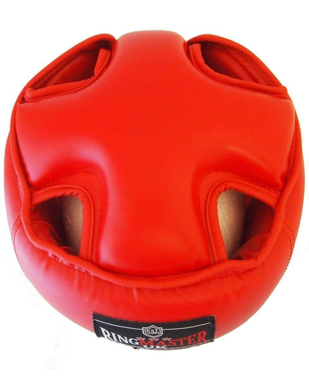 RingMaster Sports Kids Open Face Headguard AIBA styled Red Image 4