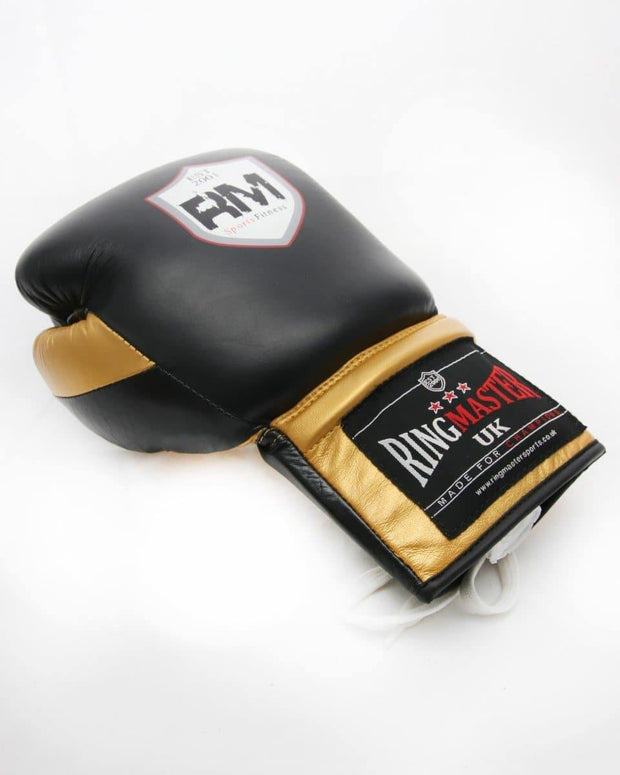 RingMaster Sports Sparring Boxing Gloves PS1.0 Series Black and Gold Image 4