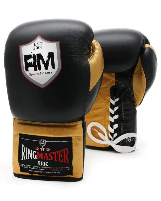 RingMaster Sports Sparring Boxing Gloves PS1.0 Series Black and Gold