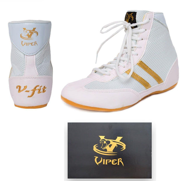 Viper Boxing Boots Mens Boys Boxing Footwear Boxing Shoes White