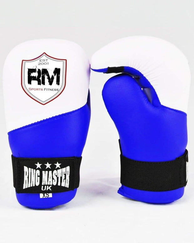 RingMaster Sports Kids Semi Contact Point Gloves Taekwondo Kickboxing Blue Image 1