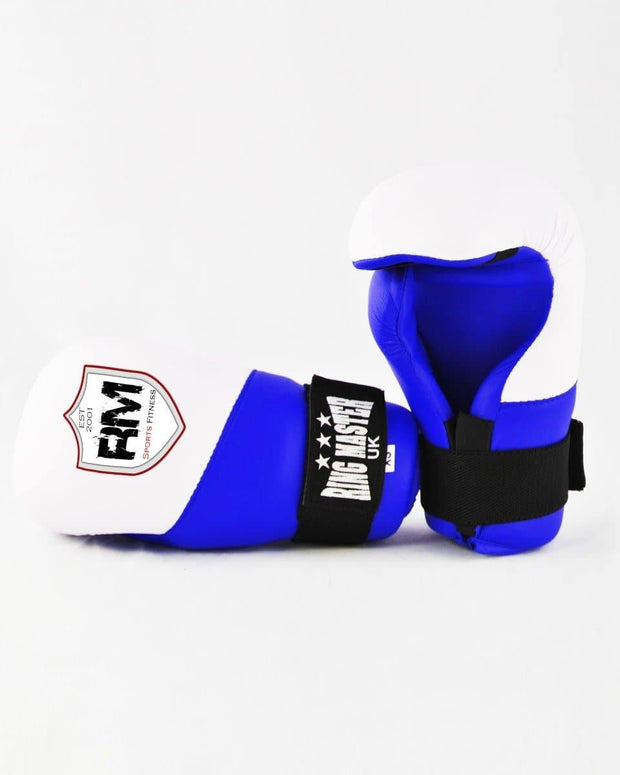 RingMaster Sports Kids Semi Contact Point Gloves Taekwondo Kickboxing Blue Image 4
