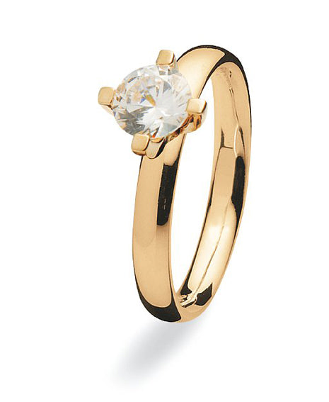 9 carat gold Max ring with cubic zirconia