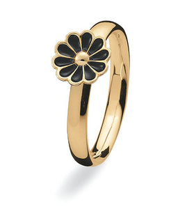 9 carat gold Max ring with black enamelled flower setting.