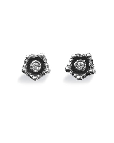 "Pair of studs ""CROWN"" from Spinning Jewelry, featuring sterling silver with cubic zirconias."