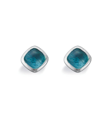 "Pair of studs ""AQUA"" from Spinning Jewelry, featuring sterling silver with aqua glass."