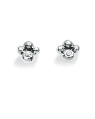 "Pair of studs ""FLEUR"" from Spinning Jewelry, featuring sterling silver with cubic zirconias."