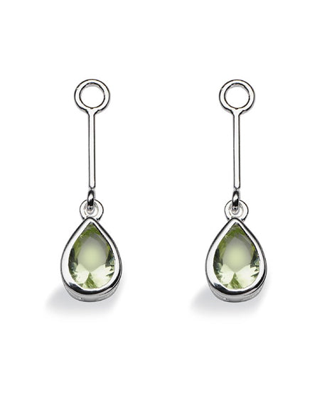 "Pair of earring hangers ""LONG DROP"" from Spinning Jewelry, featuring sterling silver with peridot glass."